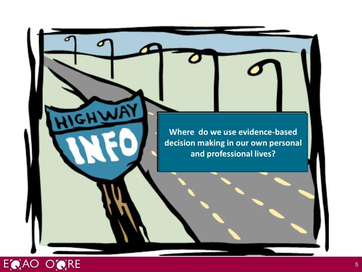 Where  do we use evidence-based decision making in our own personal and professional lives?