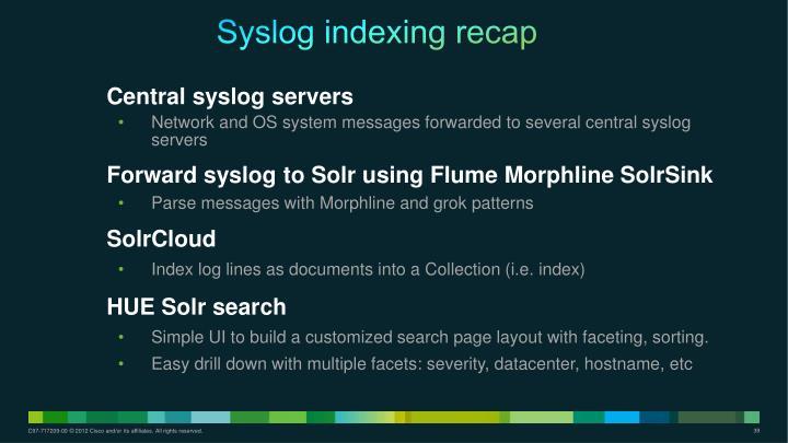 Syslog indexing recap