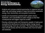 grand challenges in energy sustainability