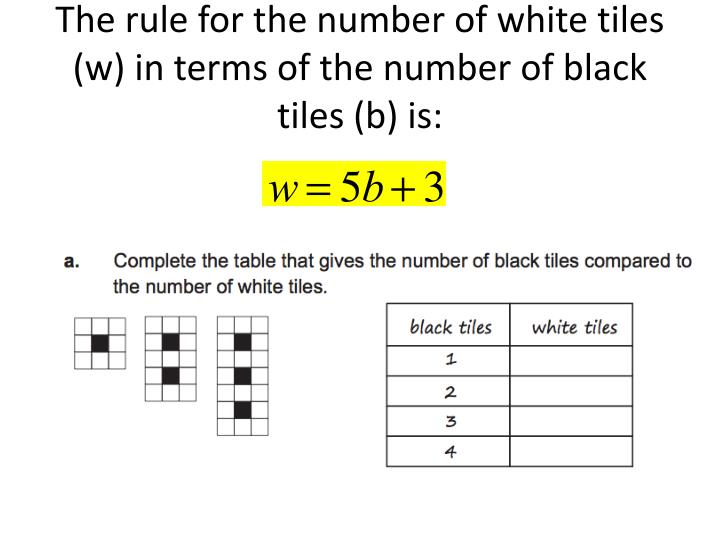 The rule for the number of white tiles (w) in terms of the number of black tiles (b) is