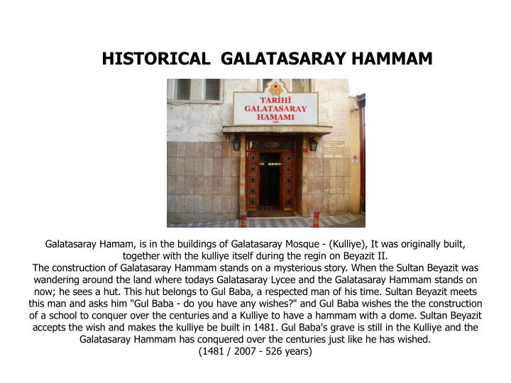 HISTORICAL  GALATASARAY HAMMAM