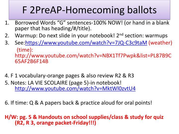 F 2PreAP-Homecoming ballots