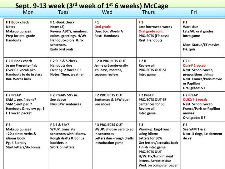 Sept. 9-13 week (3