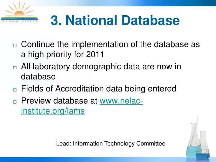 3. National Database