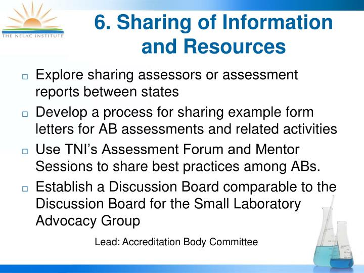 6. Sharing of Information and Resources
