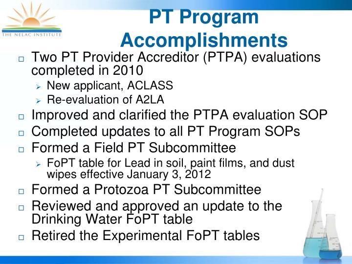 PT Program Accomplishments