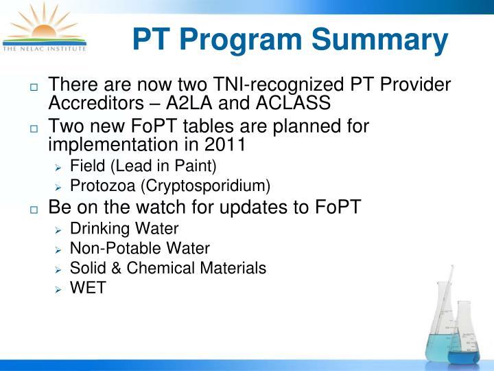 PT Program Summary