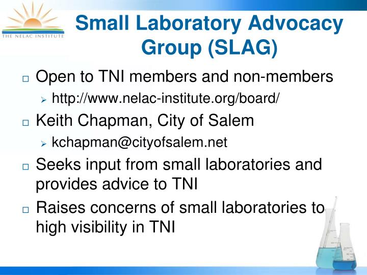 Small Laboratory Advocacy Group (SLAG)