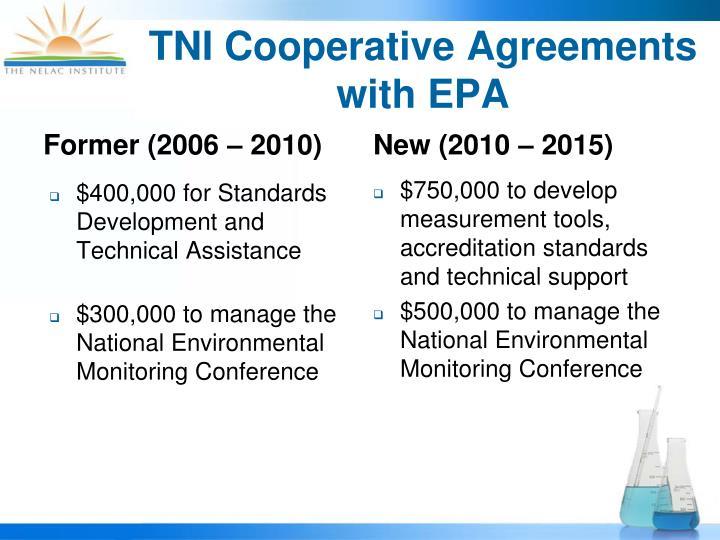 TNI Cooperative Agreements with EPA