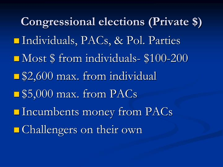 Congressional elections (Private $)