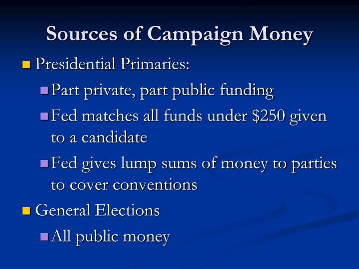 Sources of Campaign Money