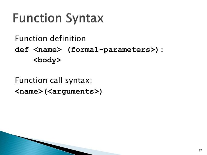 Function Syntax
