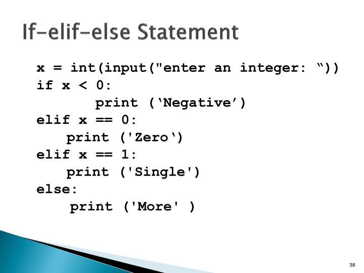 If-elif-else Statement