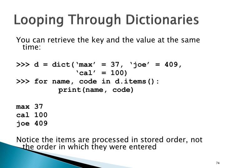Looping Through Dictionaries