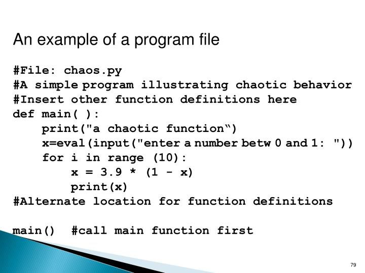 An example of a program