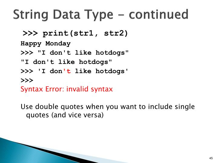 String Data Type - continued