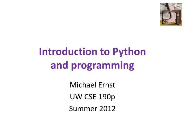 introduction to python and programming n.