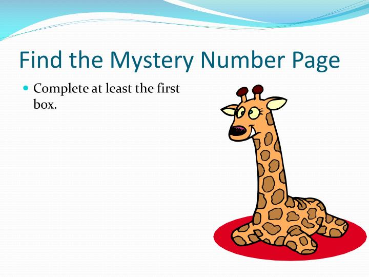 Find the Mystery Number Page