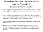 how should students be referred to special education response to intervention rti