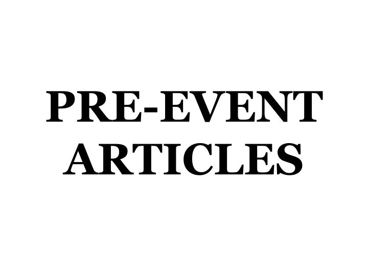 Pre event articles