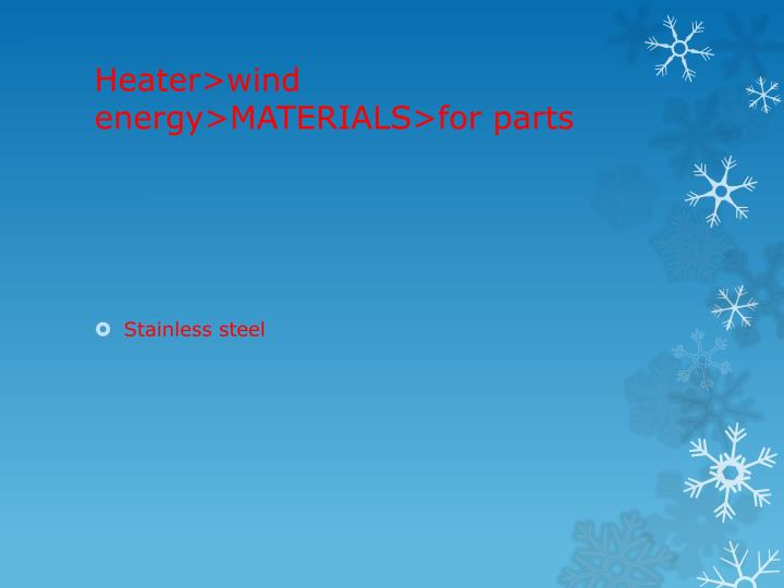 Heater>wind energy>MATERIALS>for parts