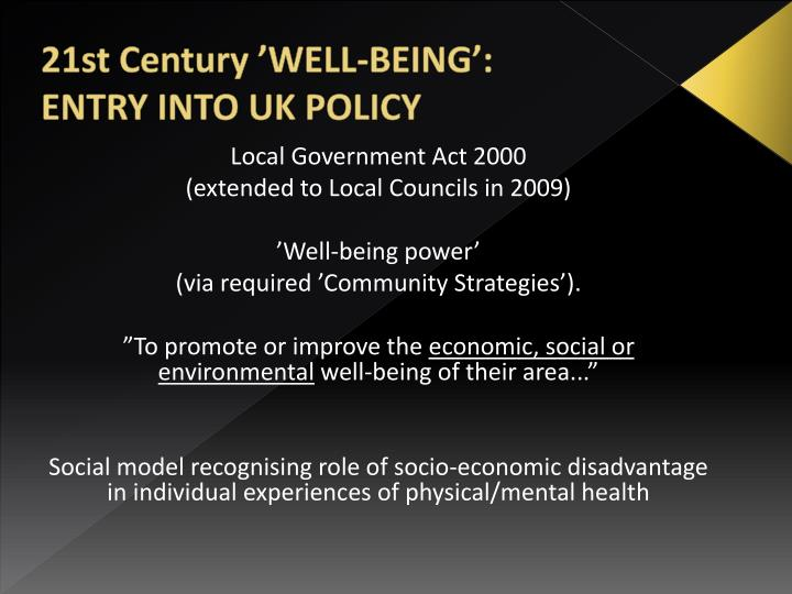 21st Century 'WELL-BEING':