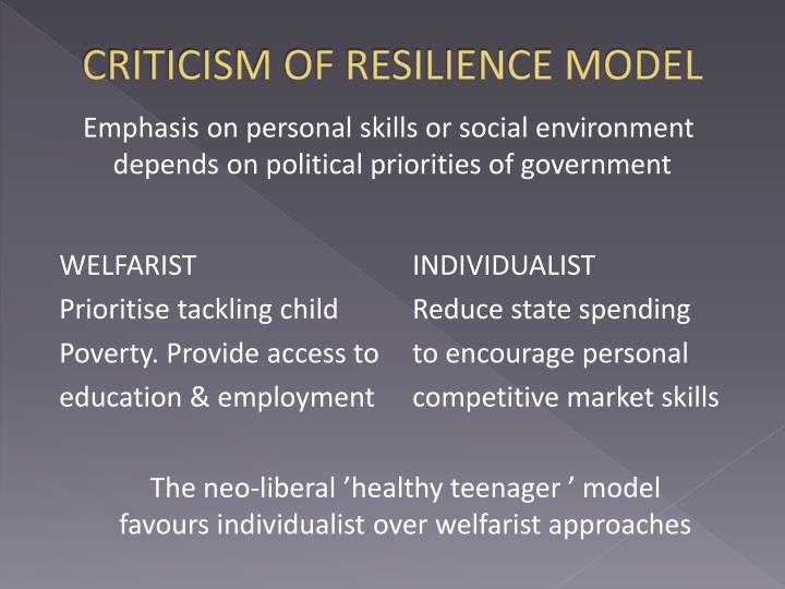 CRITICISM OF RESILIENCE MODEL