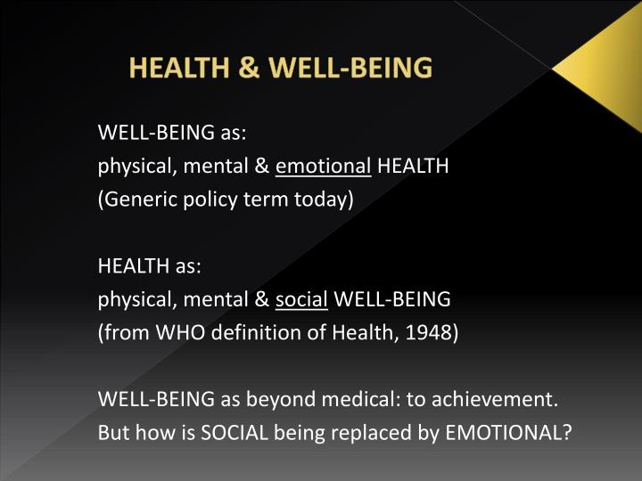 Health well being