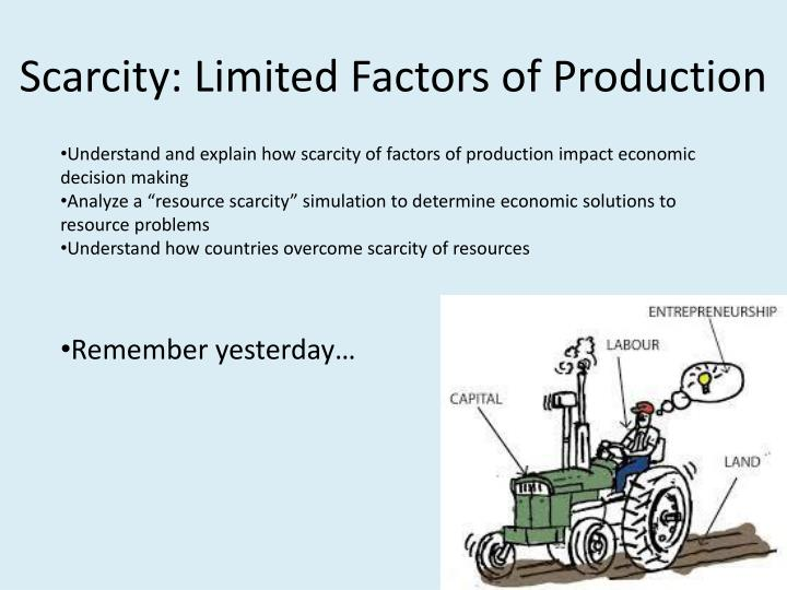 scarcity limited factors of production n.
