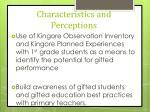 characteristics and perceptions