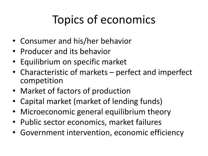 Topics of economics