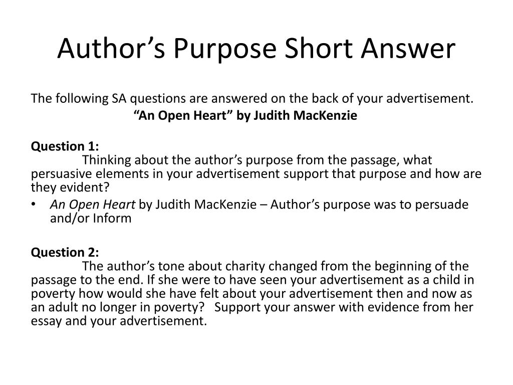 purpose of advertisment