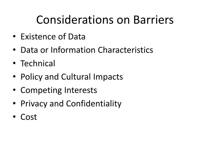 Considerations on barriers