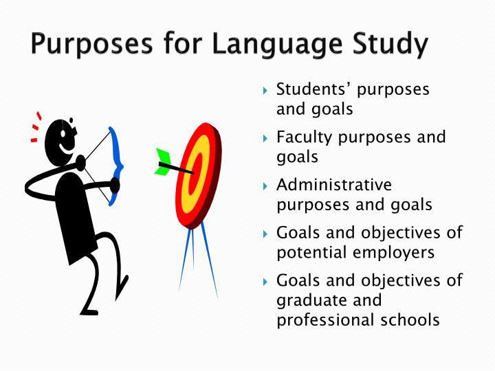 Purposes for Language Study