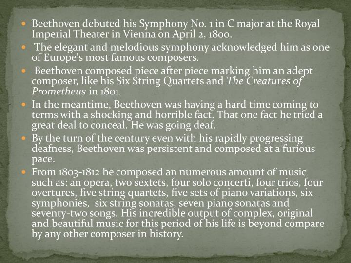 Beethoven debuted his Symphony No. 1 in C major at the Royal Imperial Theater in Vienna on April 2, 1800