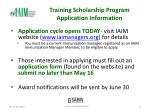 training scholarship program application information