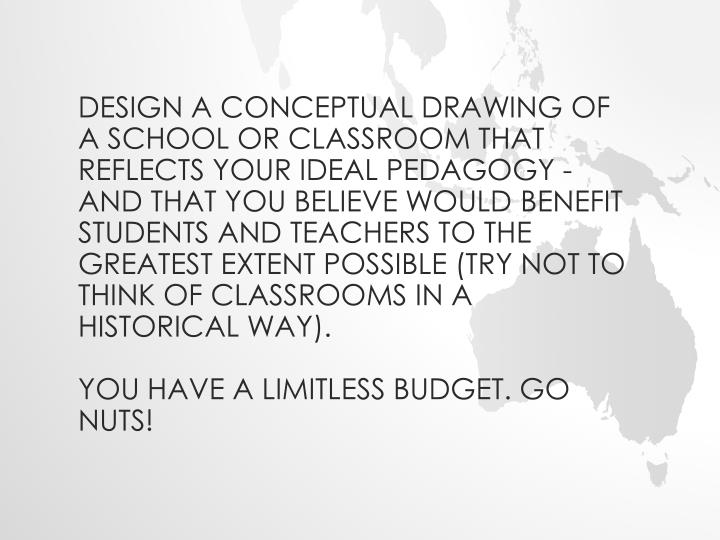 Design a conceptual drawing of a school or classroom that reflects your ideal pedagogy - and that you believe would benefit students and teachers to the greatest extent possible (try not to think of classrooms in a historical way).