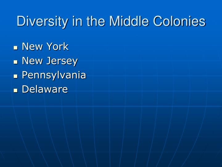 Diversity in the Middle Colonies