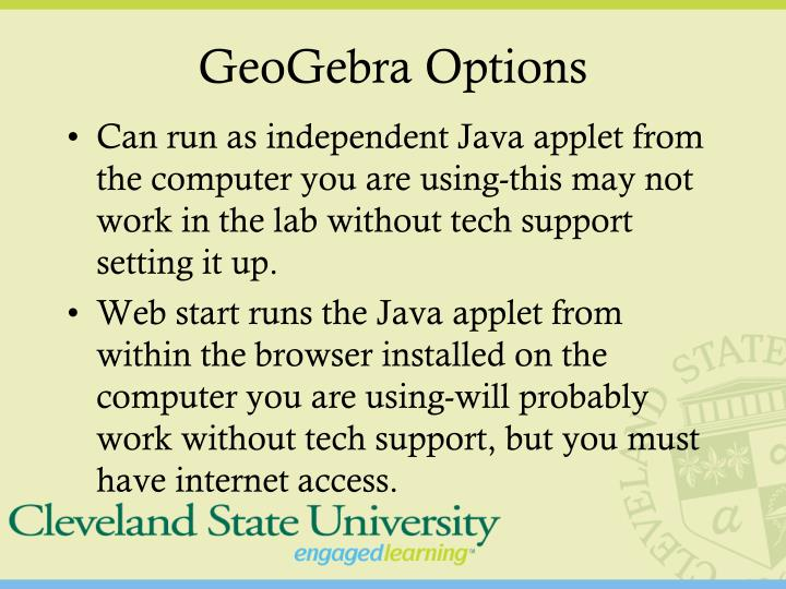 Geogebra options