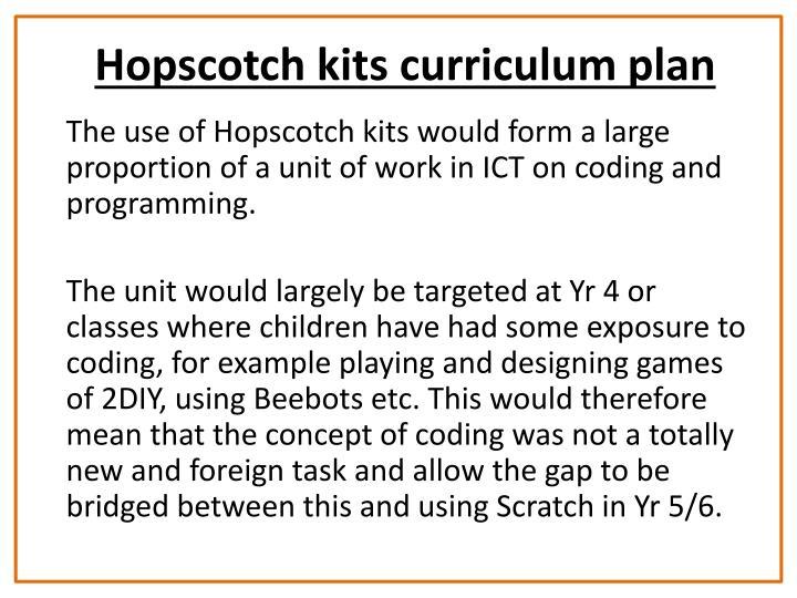Hopscotch kits curriculum plan