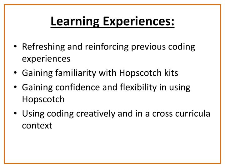 Learning Experiences: