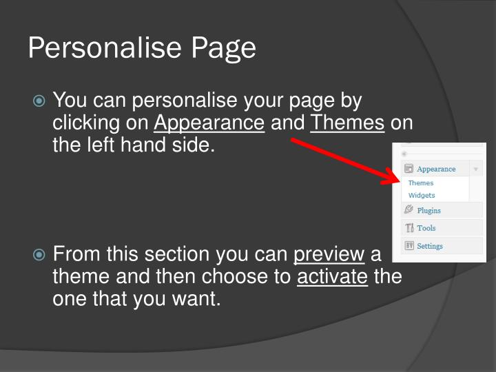 Personalise Page