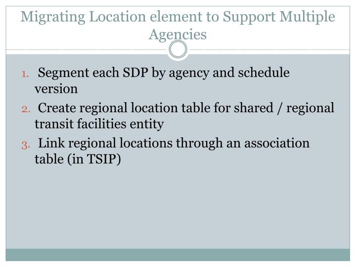 Migrating Location element to Support Multiple Agencies