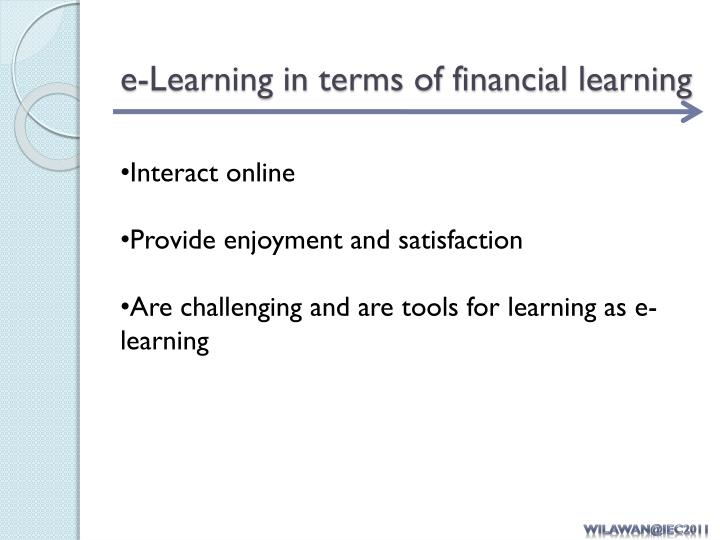 e-Learning in terms of financial learning