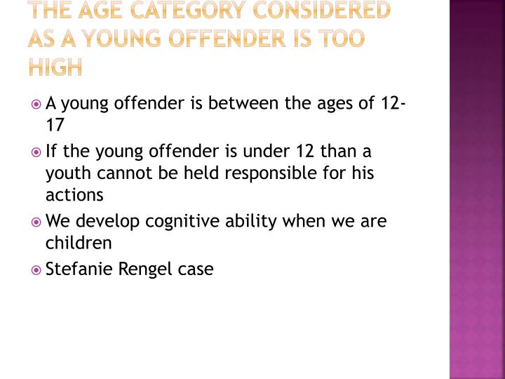 an analysis of young offenders act Young offenders act 1994 young offenders amendment regulations 2015 made by the governor in executive council 1 citation  issue identified in a summary of.