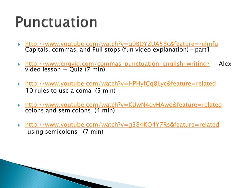 PPT - Punctuation PowerPoint Presentation - ID:2585543
