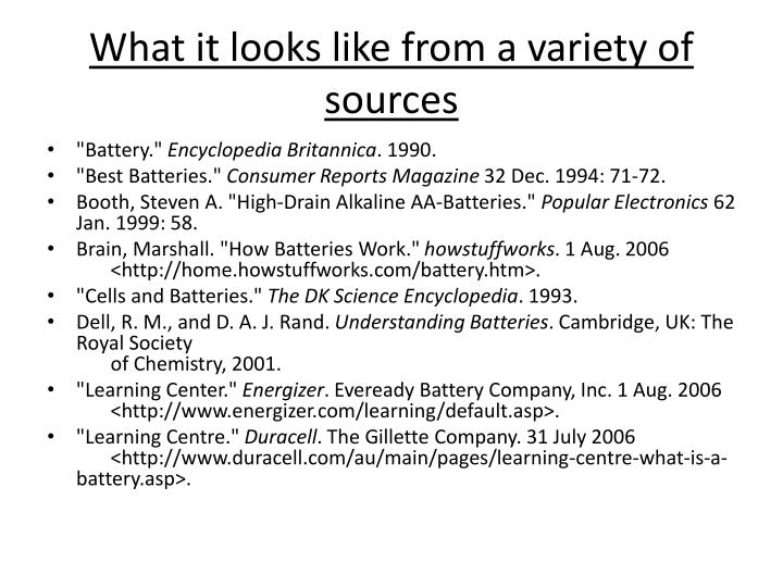 What it looks like from a variety of sources