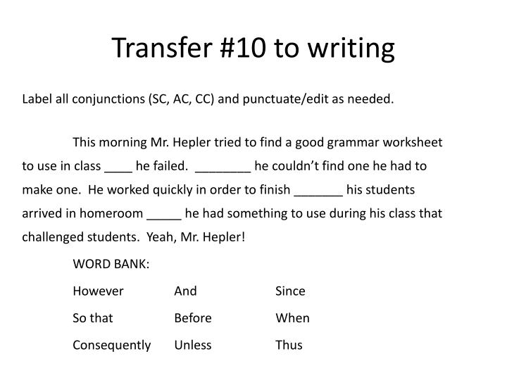 Transfer 10 to writing1