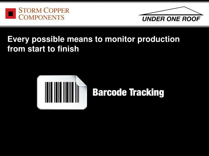 Every possible means to monitor production from start to finish