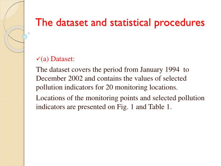 The dataset and statistical procedures